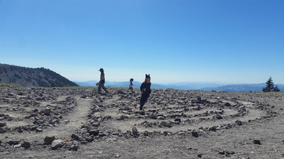Walking the labyrinth, Mount Shasta, California
